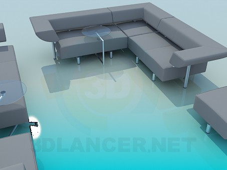modelo 3D Un conjunto de muebles tapizados - escuchar