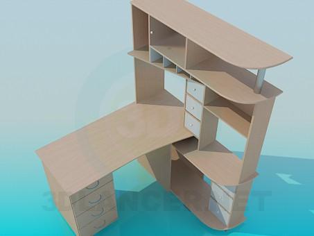 3d model Escritorio con estantes - vista previa