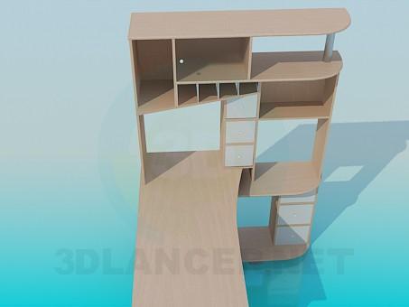 modelo 3D Escritorio con estantes - escuchar