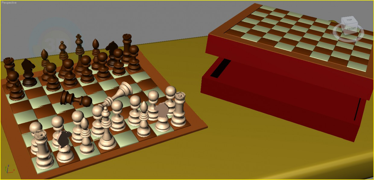 3d model Chess (chess box + checkerboard) - preview