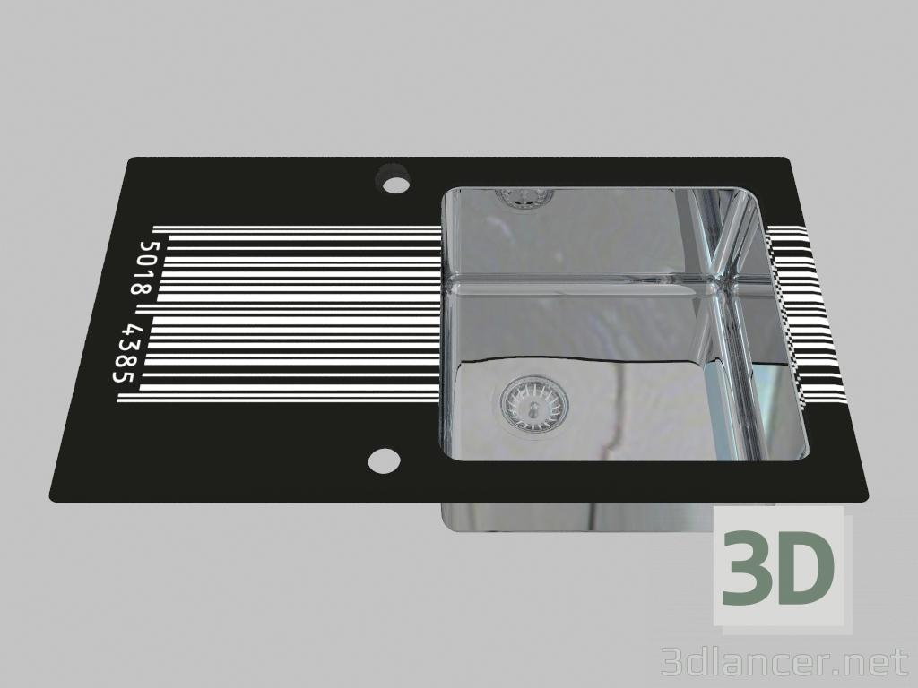 3d model Lavado de vidrio y acero, 1 cámara con un ala para secar - Edge Diamond Pallas (ZSP 0D2C) - vista previa