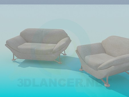3d model Sofa and armchair - preview
