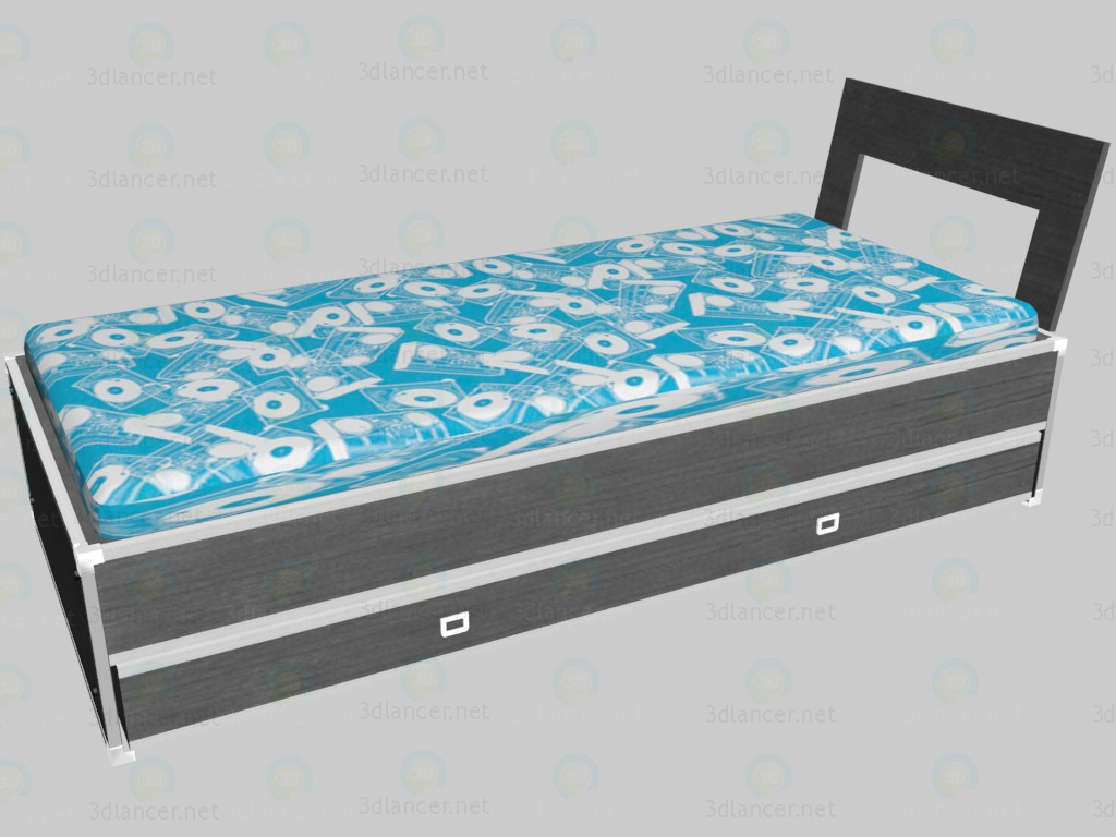 3d model Bed with headboard VOX - preview