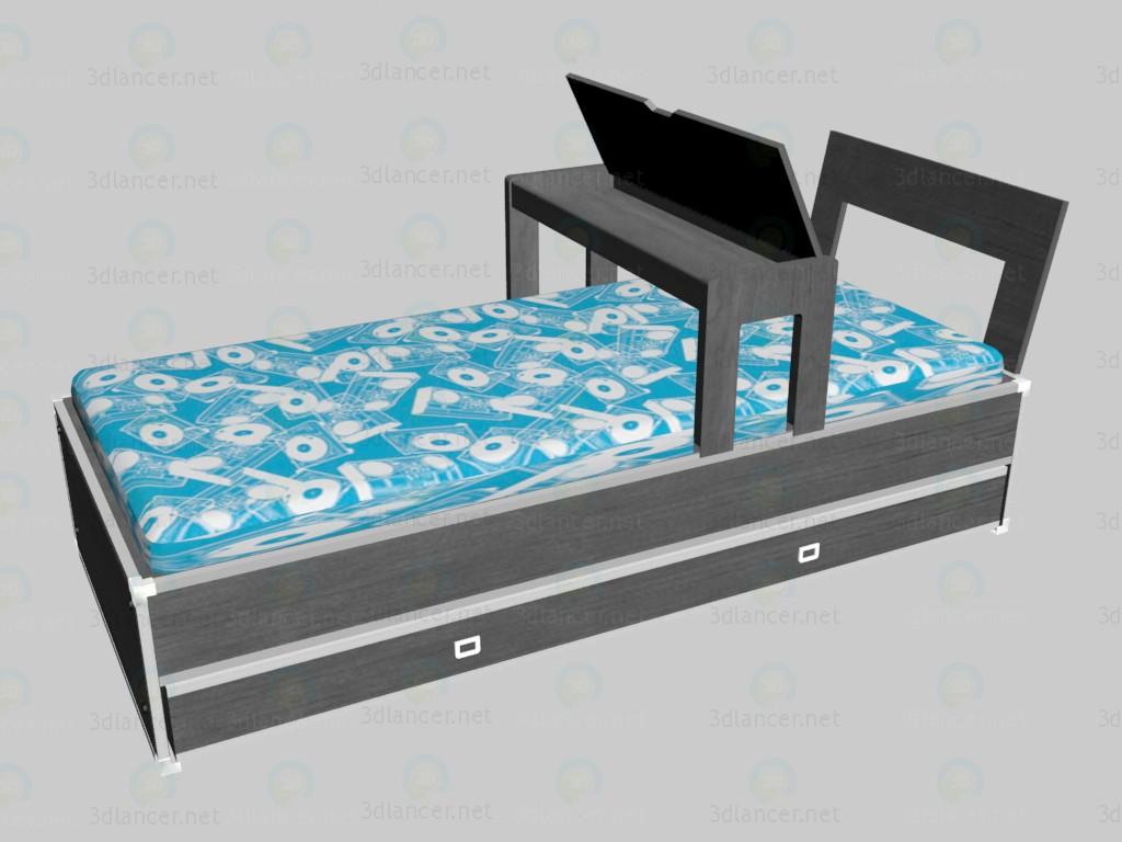 modelo 3D Cama con cabecero y una extensión VOX - escuchar