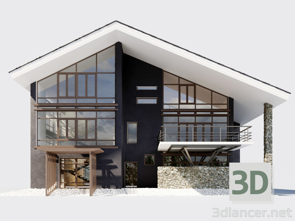3d Pool Villa model buy - render