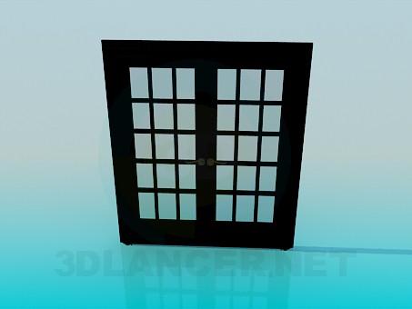 3d модель Дверь двойная со стеклом – превью