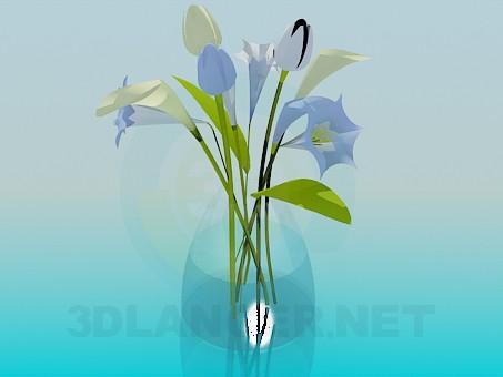 modelo 3D Ramo de flores en un florero - escuchar