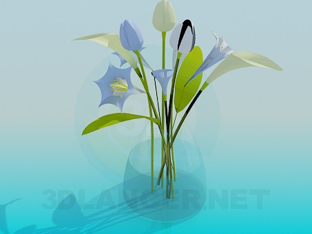 3d model Bouquet of flowers in a vase - preview