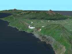Modello 3D dell'isola di Onekotan / modello 3D dell'isola di Onekotan