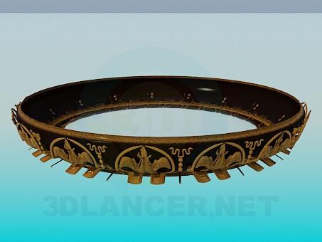3d модель Кругла люстра із золотистим орнаментом – превью
