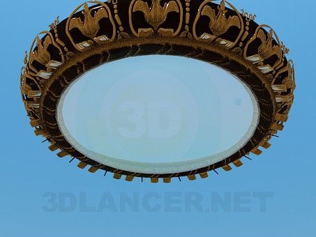 3d модель Круглая люстра с золотистым орнаментом – превью