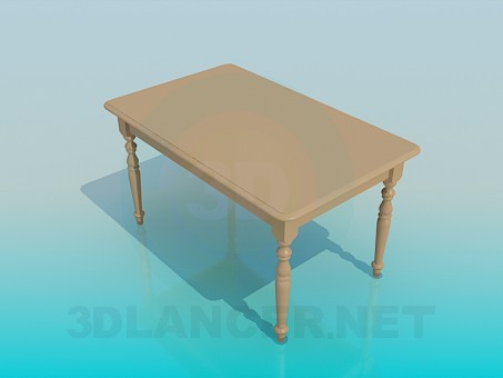 3d model Kitchen table with carved legs - preview