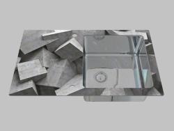Lavaggio vetro-acciaio, 1 camera con un'ala per l'asciugatura - il bordo di un Pallas rotondo (ZSP 0