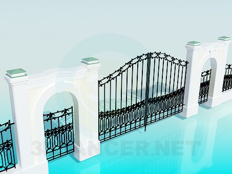 3d model The gate and fence - preview