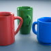 3d model A set of mugs 3 pieces - preview