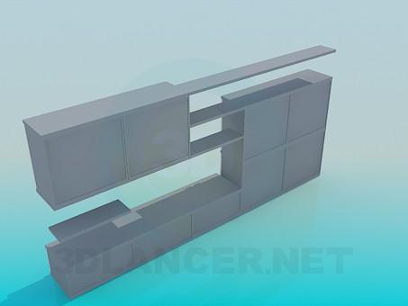 3d модель Мебельная стенка – превью