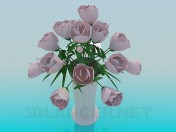 Jarrón con rosas rosas
