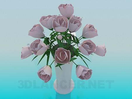 descarga gratuita de 3D modelado modelo Jarrón con rosas rosas