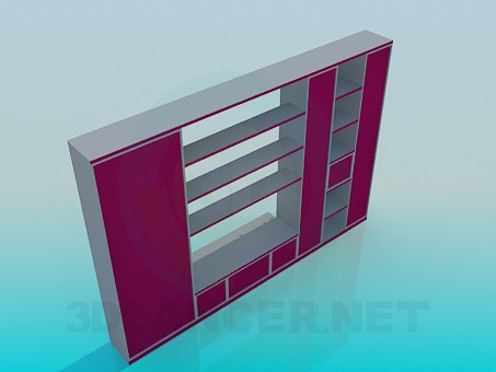 3d model Cabinet with open shelves - preview