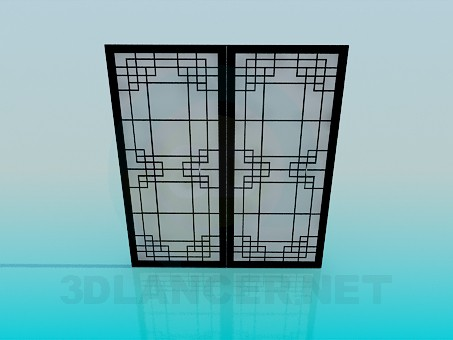3d model Sliding doors with frosted glass - preview