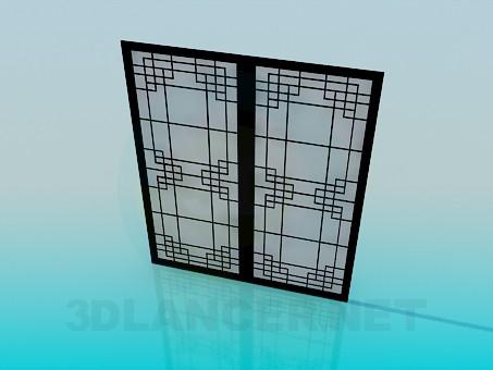 3d модель Раздвижные двери с матовым стеклом – превью