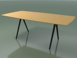 Table en forme de savon 5420 (H 74 - 100x200 cm, pieds 180 °, plaqué L22 chêne naturel, V44)
