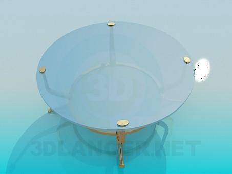 3d модель Скляний столик з ніжками Золотий – превью