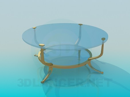 3d model Glass table with golden legs - preview
