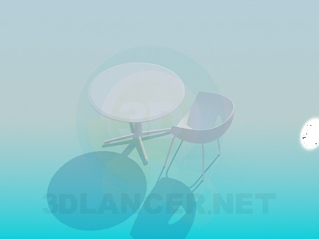3d model A table with a chair for Cafe - preview
