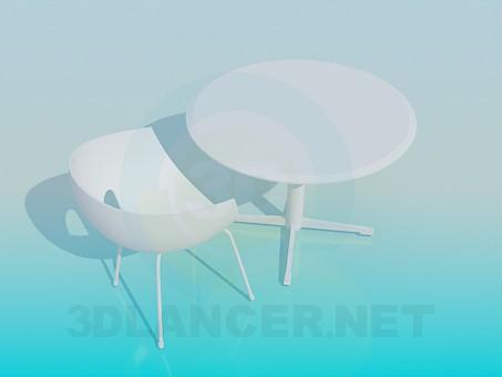 3d модель Столик со стулом для кафе – превью
