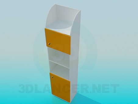 3d model Bookcase with doors - preview