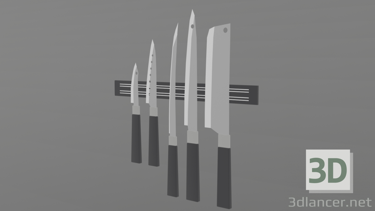 3d Set of 5 kitchen knives model buy - render