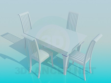 3d модель Комплект стол и стулья – превью