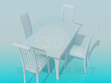 3d model Set of table and chairs - preview