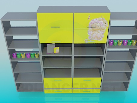 descarga gratuita de 3D modelado modelo Estanterías para habitación de niños