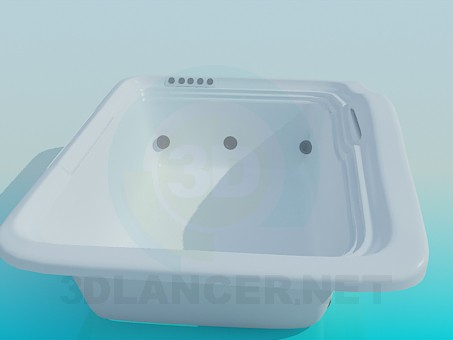3d model Rectangular tub-jacuzzi - preview
