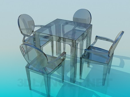 3d model Glass dining table and four chairs - preview