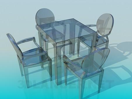 modelo 3D Mesa de comedor de cristal y cuatro sillas - escuchar