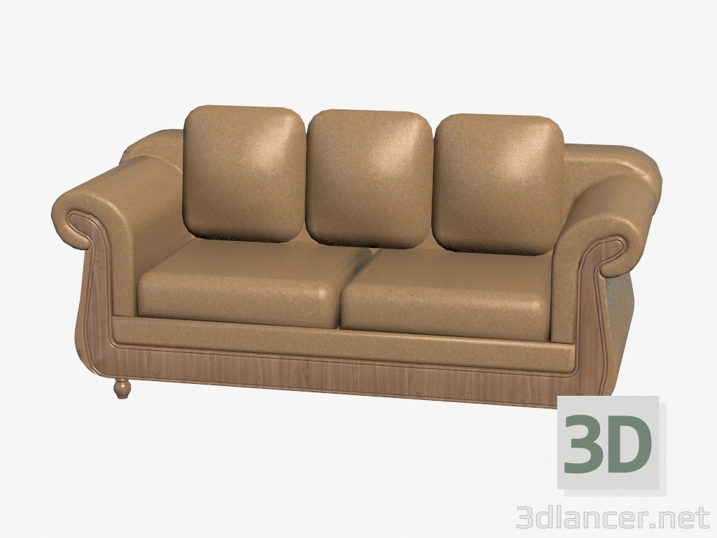 3d model Leather sofa with wood trim,Cavio max(2013), - Free ...