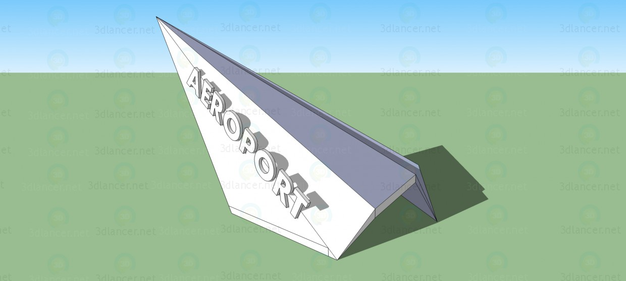 3d model The entrance sign at the airport 4 - preview