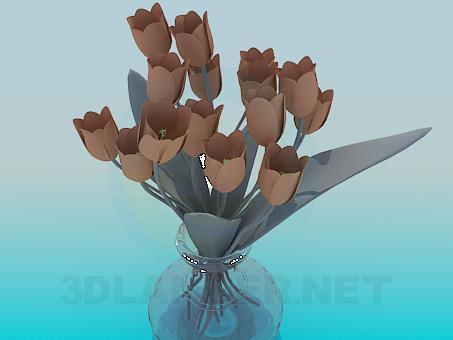 3d модель Тюльпаны в вазе – превью