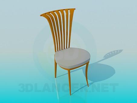 modello 3D Sedia con testiera curvata - anteprima