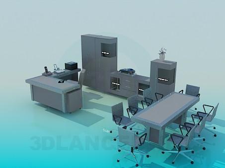 3d моделирование Комплект мебели для офиса модель скачать бесплатно