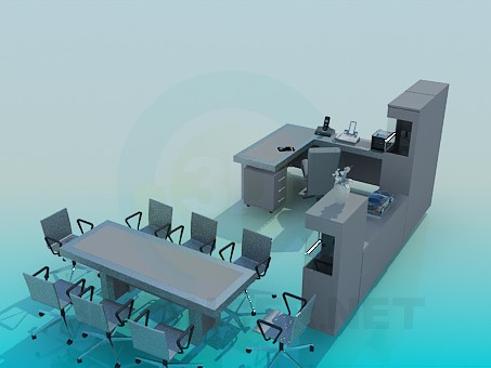3d model A set of furniture for the office - preview