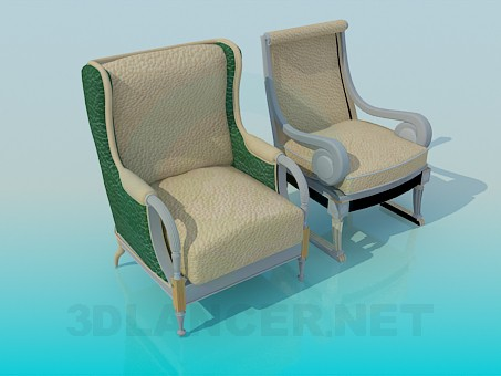 3d model Silla y sillón completo - vista previa