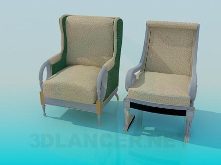 modelo 3D Silla y sillón completo - escuchar