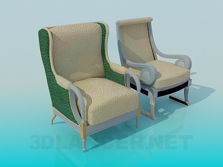 3d модель Стул и кресло в комплекте – превью
