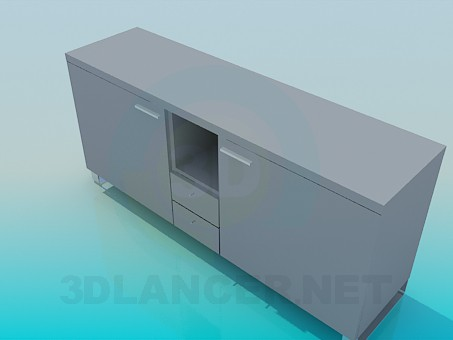 3d model Cabinet with doors and drawers - preview