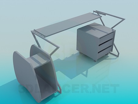 3d model A set of furniture for a teenager - preview