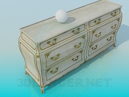 3d model Cupboard with drawers in the Baroque style - preview